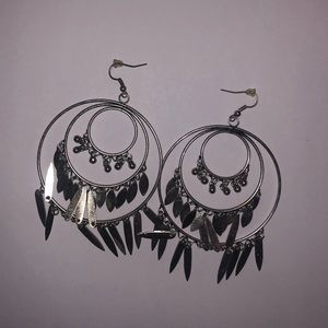 Jewelry: Layered Silver Hoop Earrings with Fringe